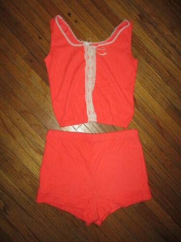 vtg 1970s 1980s WOMENS GIRLS PAJAMA SET Shirt Top