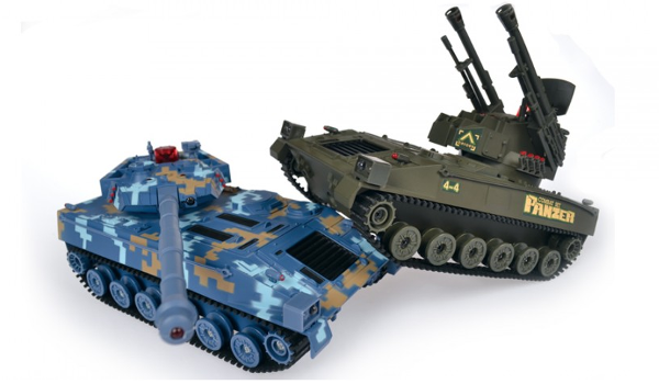 Coppia Carro Armati da Combattimento Radiocomando Mhz Battle Tanks