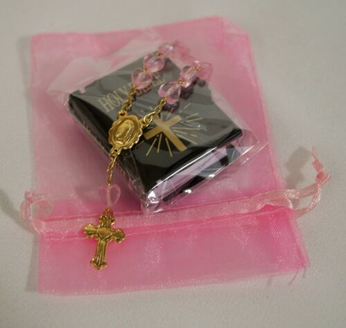 """MINI BIBLE PINK ROSARY FOR 18/"""" AND 15/"""" AMERICAN GIRL DOLL ACCESSORIES"""