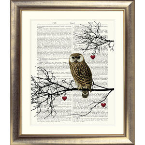 ART-PRINT-ON-ORIGINAL-ANTIQUE-BOOK-PAGE-Owl-Hearts-Branches-Dictionary-Picture