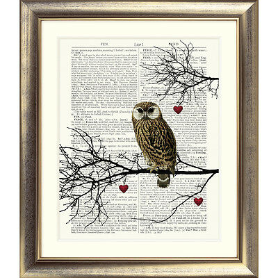 ART PRINT ON ORIGINAL ANTIQUE BOOK PAGE Owl Hearts Branches Dictionary Picture