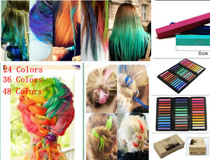 Hair-Chalk-Non-ToxicTemporary-Pastel-Colour-Dye-Kits-24Pack-36Pack-48Pack-NEW