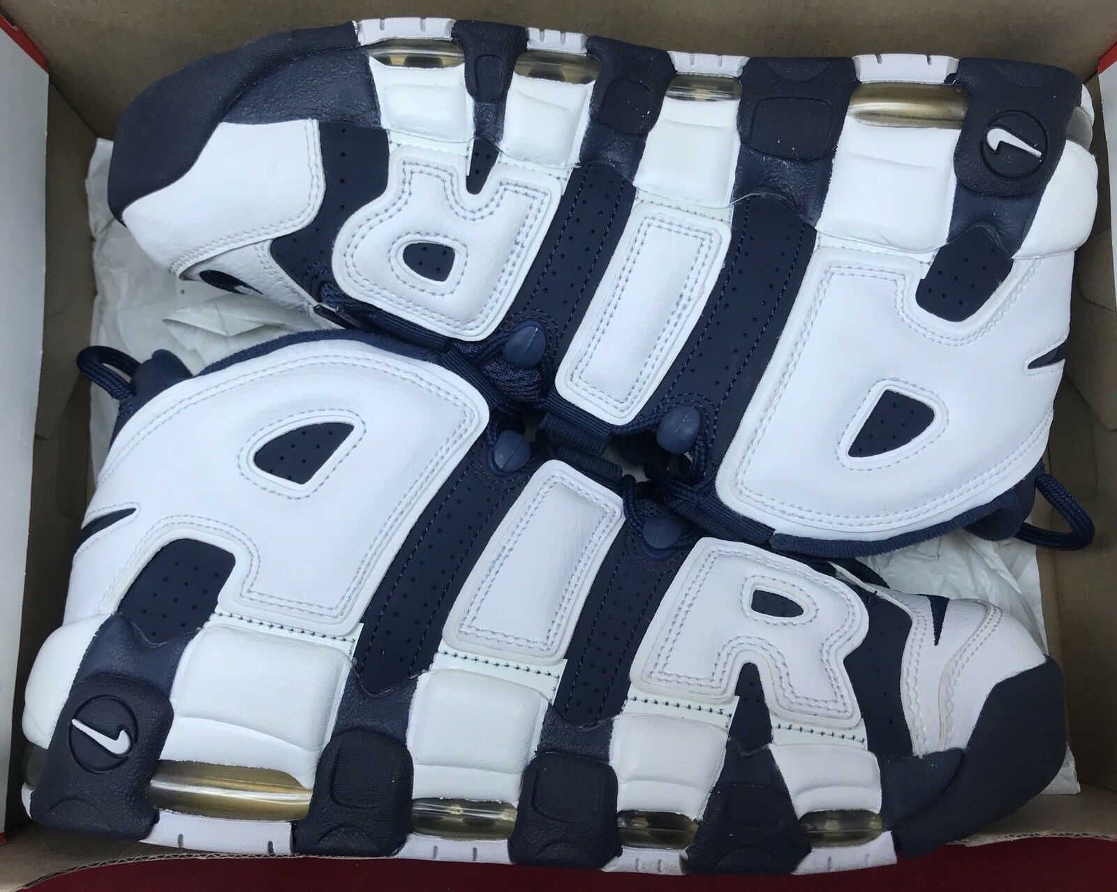 Nike Air More Uptempo Olympics Navy bluee White Red 96 Pippen 414962-104 Sz 9
