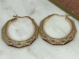 UK Hallmarked - 9K Yellow Gold -Ladies D/C Creoles Hoop Earrings Diameter - 26mm