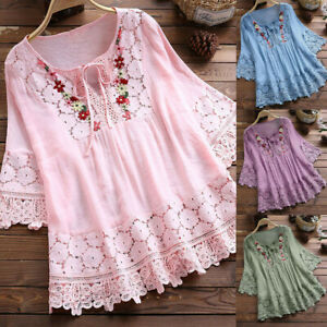 Women-Vintage-Lace-Patchwork-V-Neck-Linen-Tops-Seven-Sleeve-Blouse-T-Shirts-Tees