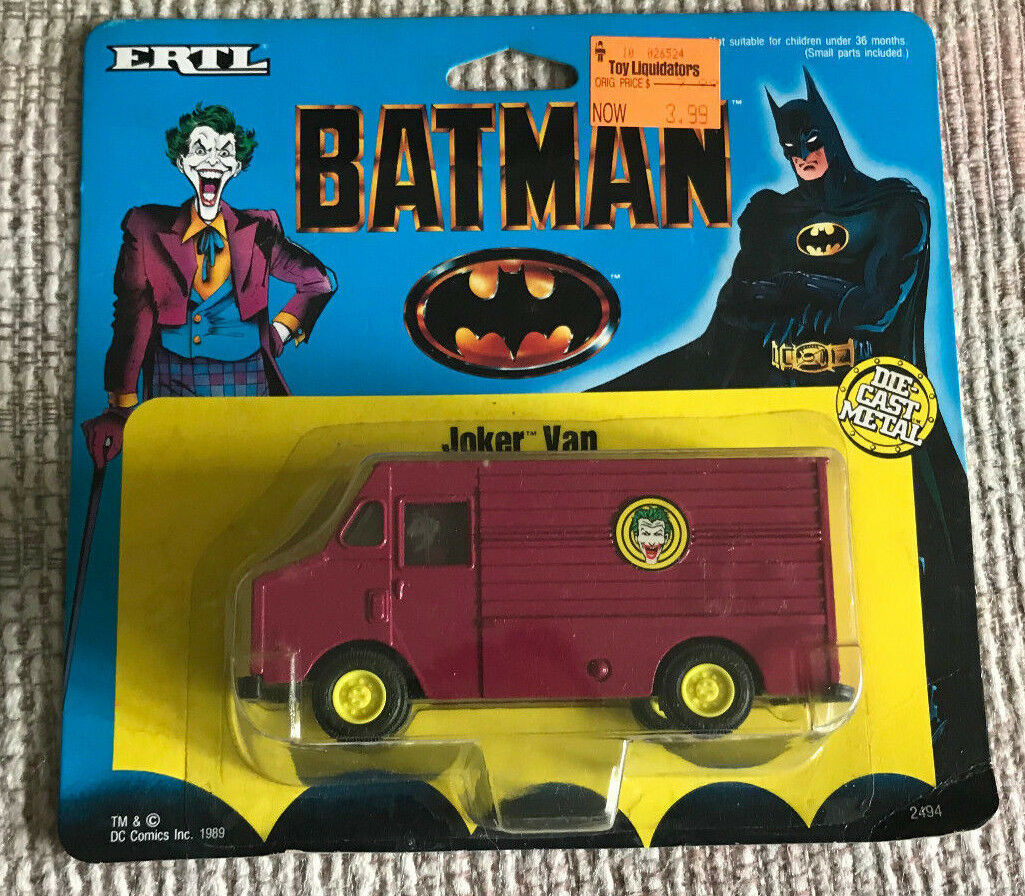 VINTAGE BATMAN THE JOKER DIE CAST METAL VAN + MINI JOKER DRIVER ERTL MOC