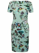 New M&S womens ladies Marks and Spencer green floral body con midi dress sz 18