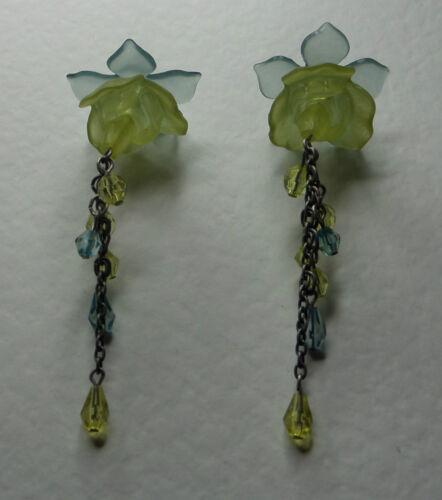 LONG 3-D FUCHSIA FLOWER EARRINGS GREEN TURQUOISE ACRYLIC SILVER PL Hook summer