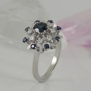 Ring-in-585-Weissgold-14K-mit-9-Saphir-Edelsteinen-8-Diamanten-Gr-62