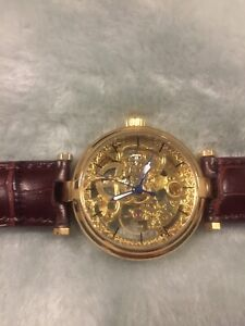 Mens Skeleton Automatic Self-wind Gold-Tone Brown Leather Strap Watch