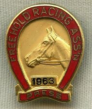 Numbered 1963 Freehold Racing Association Press Badge for Freehold Raceway