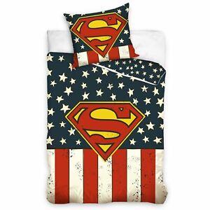 Superman-USA-Set-Housse-de-Couette-Simple-Reversible-Coton-Literie-Ue-Taille