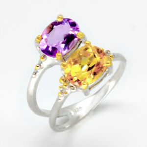 Charming-lover-jewellery-Natural-Citrine-Amethyst-925-Sterling-Silver-Ring-RVS45