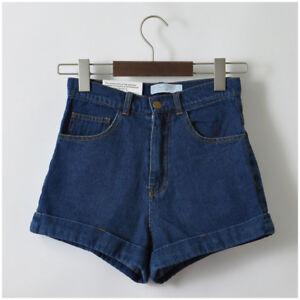 Women-Girls-Summer-Shorts-Beach-Denim-Cuffed-High-Waist-Jeans-Trousers-Pants