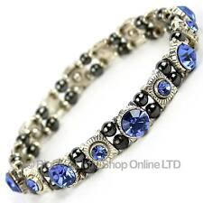 Ladies Magnetic Hematite Crystals Faux Light Blue Saphire Bracelet Pretty Gift