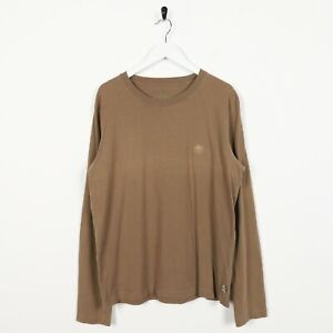 Vintage-TIMBERLAND-Back-Logo-Long-Sleeve-T-Shirt-Tee-Brown-Large-L