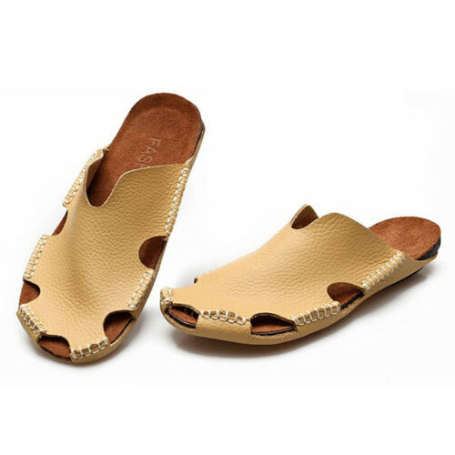 2019 Summer Men/'s Beach Leather Sandals Closed toe Slippers Outdoor Casual Shoes