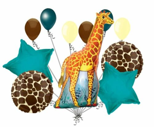 11 pc GIRAFFE party BALLOONS new BIRTHDAY safari JUNGLE zoo FAVORS any occasion