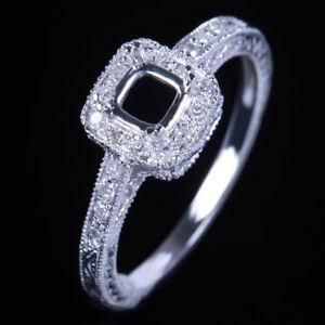 10K-White-Gold-Cushion-Cut-Semi-Mount-Setting-Diamond-Ring-Engagement-Wedding