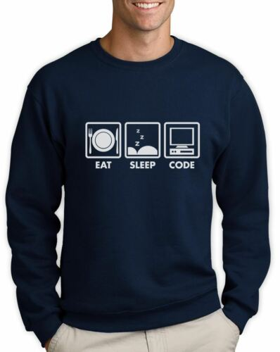 Eat Sleep Code Funny Programmer Coder Sweatshirt Coding Geek Gift Idea