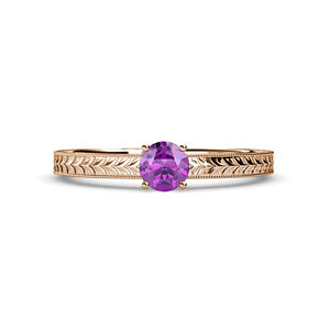 Amethyst Engraved Solitaire Engagement Ring Wedding Band 0 95 Ct