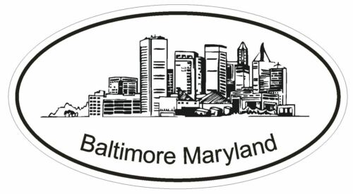 Baltimore Maryland Oval Bumper Sticker or Helmet Sticker D1172