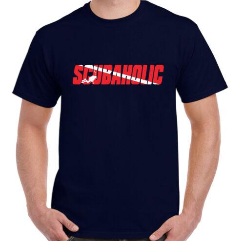 Scubaholic homme drôle plongée T-shirt plongée Sea Diver équipement Gear Flipper