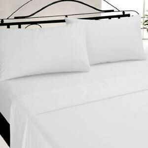 lot of 6 new full size white hotel flat sheets t-180 best buy savings