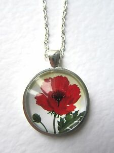 Mother-039-s-Day-Red-Poppy-Design-Silver-Pendant-Glass-Necklace-New-in-Gift-Bag