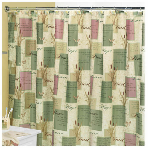 Inspirational Hope FABRIC SHOWER CURTAIN  Love Trust Peace....