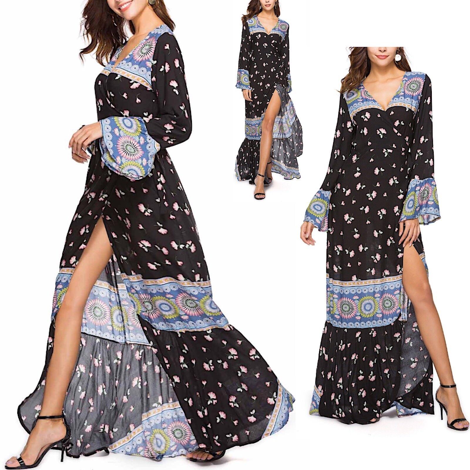Vestito Lungo Maxi Copricostume damen Woman Flower Maxi Spring Dress 110347 P