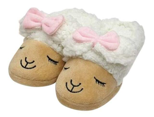 New Ladies Cute Puppy Dog Soft Plush Womens Slippers Sherpa Lining Non Slip Sole