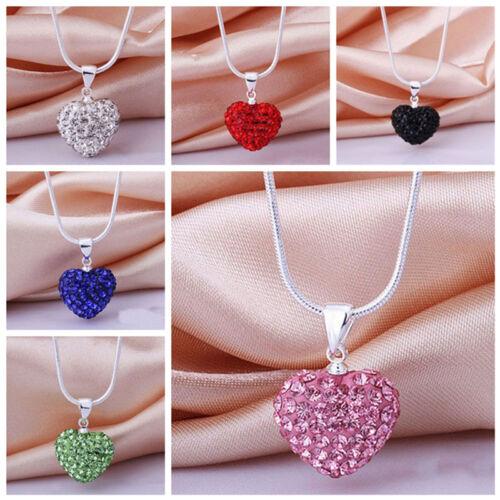 Kette Mode CN Frauen Anhänger Schmuck Kristall Herz Silber Halskette