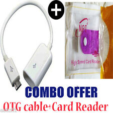 ✔ COMBO Micro USB OTG Cable+Card Reader For Samsung Sony HTC LG INTEX Micromax✔