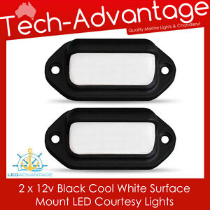 2 X 12V BLACK SURFACE MOUNT COOL WHITE COURTESY BOAT/STEPS LED COMPANION LIGHTS