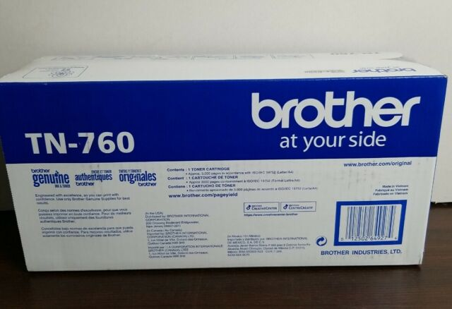 Brother Genuine TN760 Black High Yield Toner Cartridge HL-L2350DW/MFC-L2710DW
