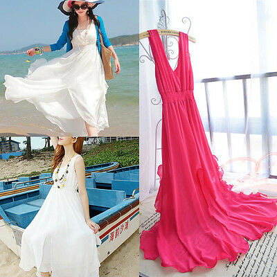 Women Sexy V-Neck Bohemian Chiffon Long Beach Vacation Dress Sundress Irregular