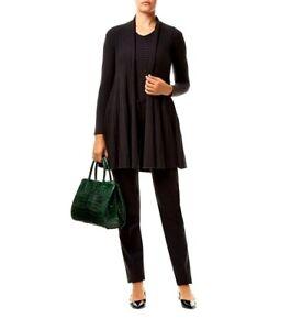 NEW-Armani-Collezioni-Ribbed-Shawl-Collar-Cardigan-black-size-US-4-S161