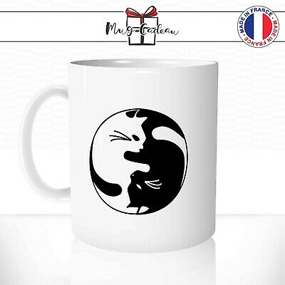 Mug Chat Yin Yang Noir Blanc Cat Cute Mignon Dessin Bouddha