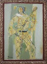 PIERRE BOSCO-French Modernist-Large Original Signed Oil-Picasso-esque Harlequin