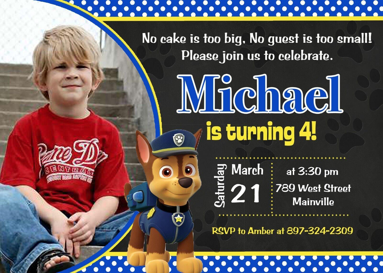 Paw Patrol, Chase,  Birthday Party Invitation
