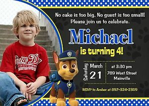 Image Is Loading Paw Patrol Chase Birthday Party Invitation