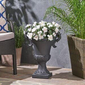 Renee Chalice Garden Urn Planter, Roman, Botanical, Lightweight Concrete