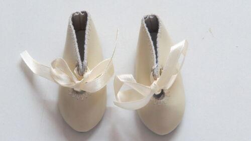 Chaussures  Long 62   Large 22     Simili cuir  Beige     pour poupées anciennes