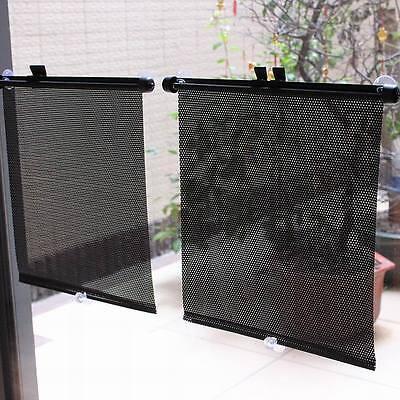 Car Retractable Windshield Window Sunshield Visor Sun Shade Curtain 36CM Black2X