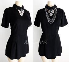 Forever 21 Black Peter Pan Collar Short Sleeves CUTE Jumpsuit Romper Dress - S