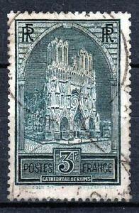 FRANCE-STAMP-TIMBRE-N-259-b-034-CATHEDRALE-REIMS-3F-TYPE-III-034-OBLITERE-TB-M535