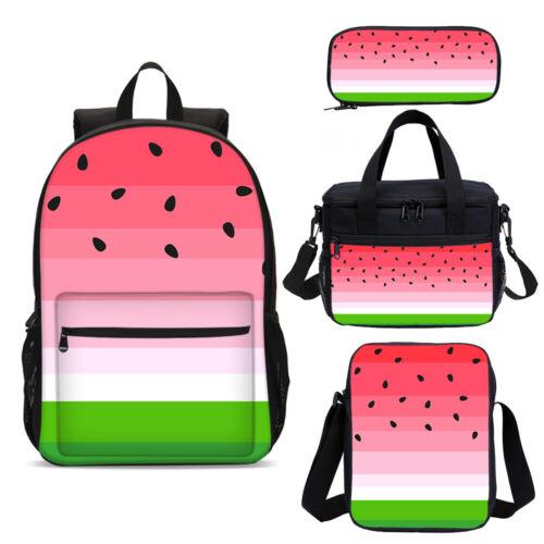Cute Watermelon Girls Large School Backpack Cooler Lunch Box Shouder Bag Pen Lot