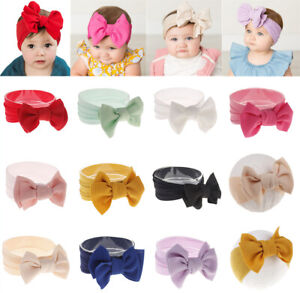 Solid-Color-Bow-Headwrap-Baby-Knot-Nylon-Wide-Headband-Turban-DIY-Soft-Elastic
