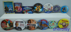 LOT-OF-13-Movie-TV-ADVERTISING-PROMO-BUTTON-Pinback-COLLECTOR-PINS
